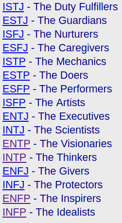 Meyers-Briggs Personality Types